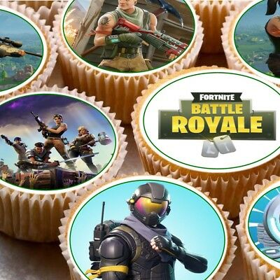 24 Edible cupcake fairy cake toppers decorations Fortnite Fornite Fortnight