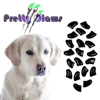 PRETTY CLAWS 60 Piece Soft Nail Caps For Dog Paws with adhesive - JET BLACK