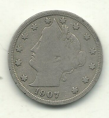 Vintage Very Good Vg  Better Date 1907 Liberty Head V  Nickel Coin-May042