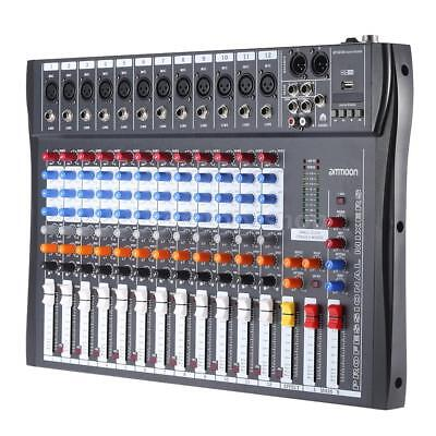 CT-120S 12 Channel Professional Live Studio Audio Mixer USB Mixing Console USB