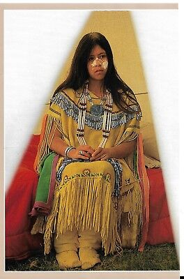 Vintage magazine ad,,Indian Maiden, boots, beaded dress,,,necklace