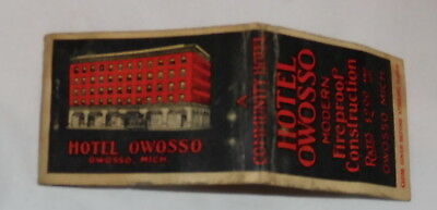 vintage hotel Owosso Modern Fireproof Owosso Michigan EMPTY Matchbook