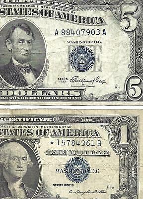 1953 $5 BLUE! 1957B $1 **STAR**! 2 Notes! FINE+! Old US Paper Money!