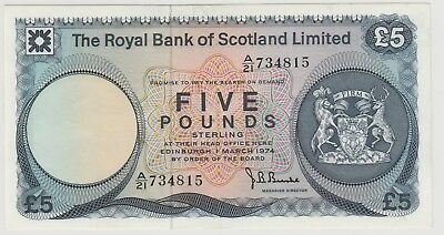 1974 £5 , Five Pounds The Royal Bank Of Scotland Note Crisp Circulated 815