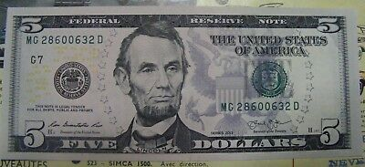 2013 $5 Five Dollars Us Green Seal Federal Reserve Note Uncirculated 632D