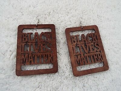 Large Lightweight BLACK LIVES MATTER Wood Scroll Cut Pierced Earrings (C56)