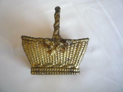 """Antique 18th or early 19th century Miniature Bronze Dore Basket  4""""x 3.5"""""""