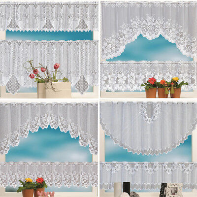 2PCS Lace Coffee Cafe Window Tier Curtain Kitchen Dining Room Home Decor Set