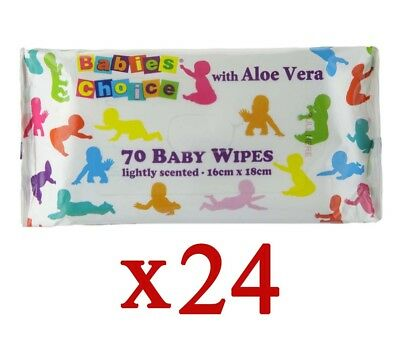 24 x BABIES CHOICE PK70 BABY WIPES WITH ALOE VERA STICKY TOP - NEW