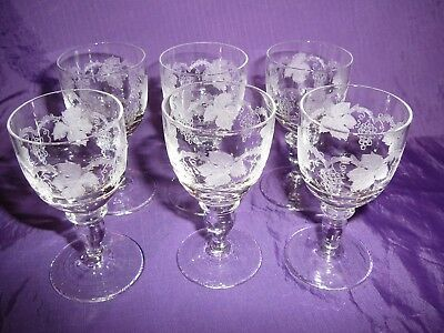 Bohemia Crystal Port Liqueur Etched Grapevine Design Very Small 7.5cms tall