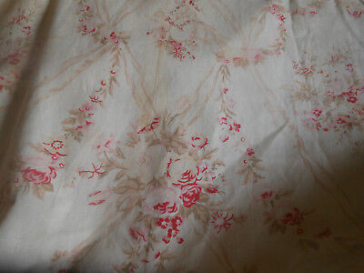 Vintage Roses Ribbon Garland Furnishings Fabric ~ French Style ~ Pink Red Sage