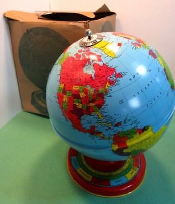 "J. Chein 1950's 7"" Vintage Rotating Tin Litho World Globe wi BOX Horoscope Toy"