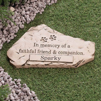 Dog Cat Pet Memorial PERSONALIZED Cemetery Paw Prints Grave Marker Tomb Stone