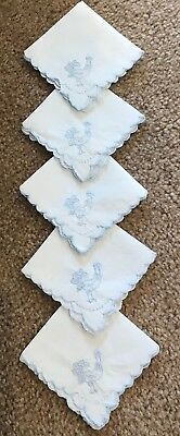Vintage Set Of 5 Embroidered ROOSTER PEACOCK Cotton Linen Cocktail Napkins