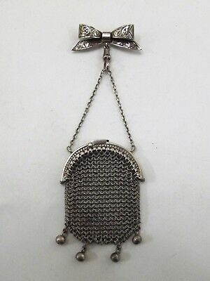Antique Silver Purse Suspended From A Silver Bow Brooch Chester 1911 Ref 267/3
