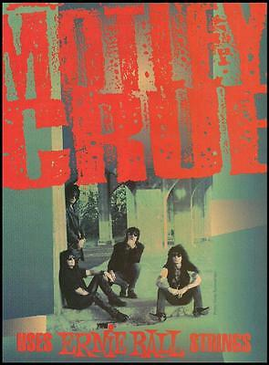 Motley Crue Nikki Sixx Mick Mars Tommy Lee Ernie Ball Guitar Strings 8 x 11 ad