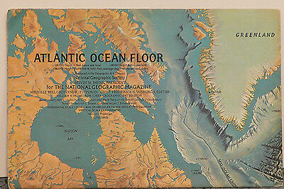 Vintage 1968 National Geographic Double Sided Map of Atlantic Ocean Floor