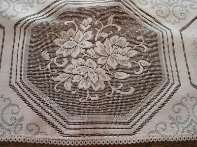 """Vintage Floral Embroidered Lace Centerpiece Doily Tablecloth Topper Ecru 33"""""""