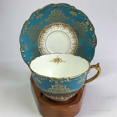 Coalport 9301 Turquoise Band with Delicate Gold Details Bone China Cup & Saucer