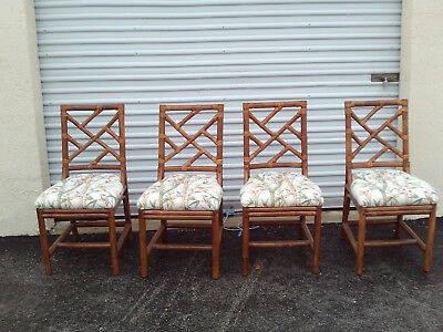 Vintage Mid Century Set Of 4 Bamboo Chinese Chippendale Chairs With Cushions