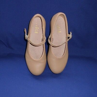 BLOCH Techno Tap Dance Shoes Size 13.5 Girls Mary Jane Tan Color