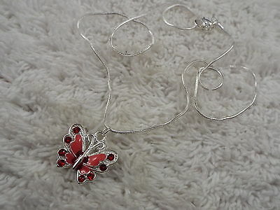 Silvertone Red Pink Butterfly Pendant Necklace  (C54)