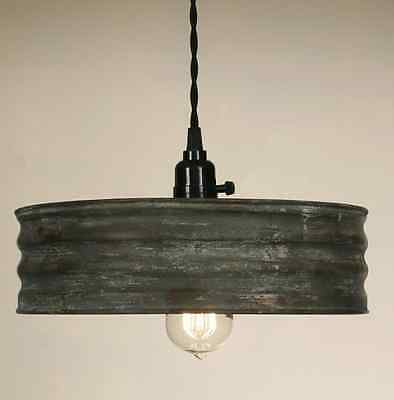 Country new small textured gray round SIFTER tin hang light / PLUG IN LIGHT