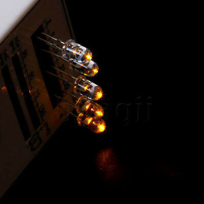50 pcs 5mm 2pin Round top Amber Superbright LED Light 4000MCD Water Clear DG