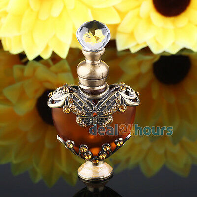 Vintage Crystal Butterfly Metal Heart Shaped Perfume Bottle Cut Glass Empty 5ml