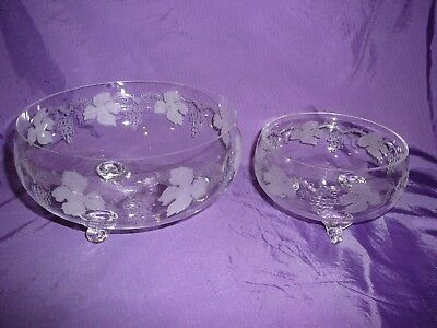 Bohemia Glass Sweets Bowls Etched Footed Display Pretty Small/Large Pair