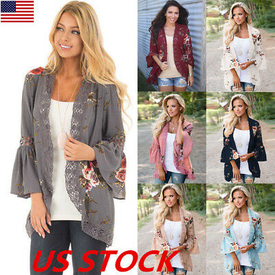 US Boho Womens Long Sleeve Lace Floral Kimono Cardigan Blouse Casual Jacket Tops