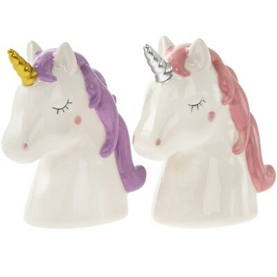 Unicorn Head Money Box Piggy Bank Gift Pink Purple