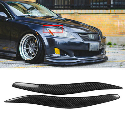 2x Real Carbon Fiber Headlight Eyelids Cover Eyebrows Trim For Lexus IS250 IS300
