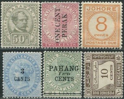 6 pieces of Malaya State Straits Settlements & Sarawak Mint Gummed Aged REPLICA