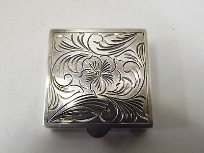 Small Square Silver Pill Box London Import 1979 Ref 316/2