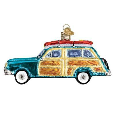 Surf's Up Wagon Old World Christmas Glass Surfing Beach Ornament Nwt 46071
