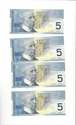 **2001**Canada $5 Note(s), Kni/Dod BC-62a, Ser# ANV 2139846/47/48 &49 Seq Notes