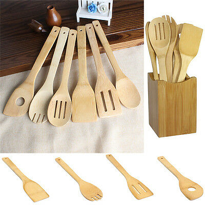 6PCS/SET BAMBOO KITCHEN Tools Spoons Spatula Wooden Cooking ...