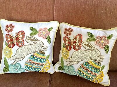 Pier 1 One Two Pillows Sequins & Beads Bunny Rabbit Butterfly Egg Garden Party