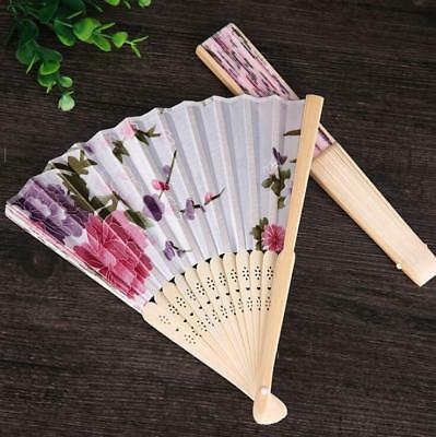 10 Color Floral Chinese Bamboo Folding Hand Fans Dance Party Shower Favors Decor