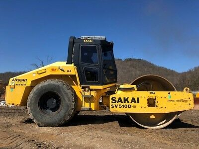 2013 Sakai SV510D III Smooth Drum Vibratory Compactor Roller Cab AC Driven Drum