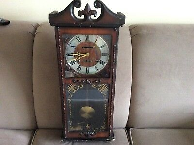 "Vintage ""president"" 31 Day Wall Clock With Key & Pendulum Chime"