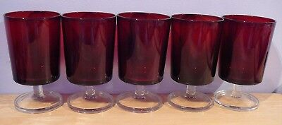 5 Ruby Red  CRISTAL D'ARQUES LUMINARC Cavalier Water Glasses 10 oz
