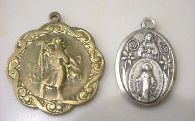 TWO (2) VINTAGE CATHOLIC MEDALS Miraculous Medal w Sacred Heart & St  Christopher