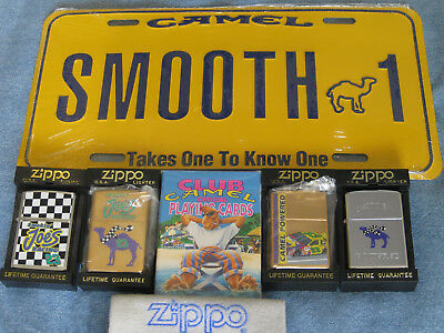 ZIPPO CAMEL LOT 4 Lighters DECK PLAYING CARDS License Plate SMOOTH 1 Mint SEALED