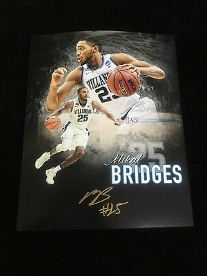 88ada523a6b 2018 National Champions Villanova Mikal Bridges Autographed 8X10 Photo  4 W  coa