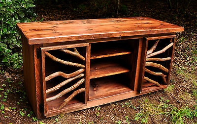 Rustic Red Wood Furniture TV Media Table Stand Cabinet Log Cabin FREE  SHIPPING