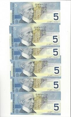 **2003**Canada $5 Note(s)Kni/Dod BC-62a-i Ser# HNG 2004474-79 Seq Notes