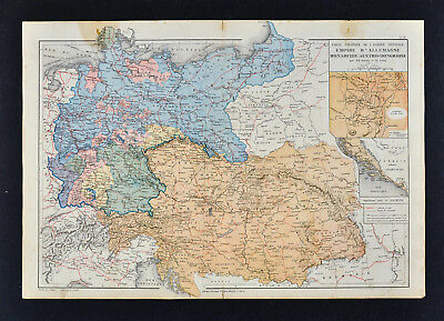 1885 Drioux Map - Germany Prussia Austria Hungary Empire Bohemia Berlin Vienna