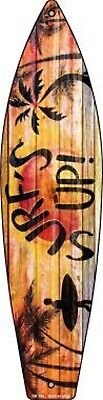 "Surf's Up Surfer Silhouette Metal Novelty Surfboard Sign 17"" x 4.5"" Decor"